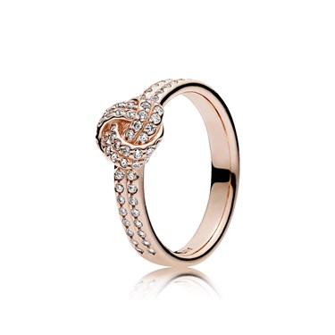 PANDORA Sparkling Rose Love Knot Ring  - Click to view larger image