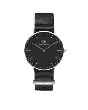 Daniel Wellington Classic Black Cornwall 36mm Silver Watch   - Click to view larger image