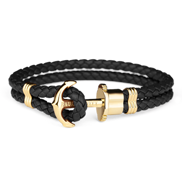 Paul Hewitt Black & Gold Phrep Leather Bracelet  - Click to view larger image