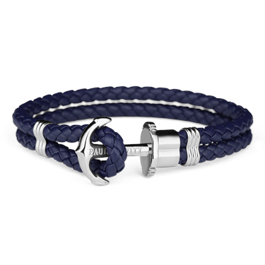 Paul Hewitt Navy Blue & Silver Phrep Leather Bracelet  - Click to view larger image