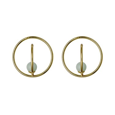 Pilgrim Gold & Green Circle Earrings  - Click to view larger image