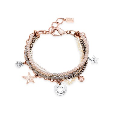 August Woods Silver Bead Charm Layer Bracelet  - Click to view larger image
