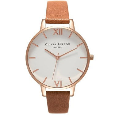 Olivia Burton White Dial Tan & Rose Gold Watch  - Click to view larger image