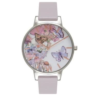 Olivia Burton Painterly Prints Grey Lilac & Silver Watch  - Click to view larger image