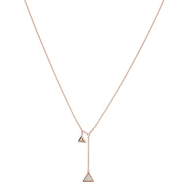 Argento Rose Gold Crystal Drop Triangle Necklace  - Click to view larger image