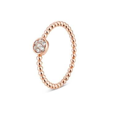 Argento Rose Gold Rope Pavé Stacking Ring  - Click to view larger image