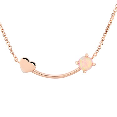 Argento Opal Heart Curve Necklace  - Click to view larger image