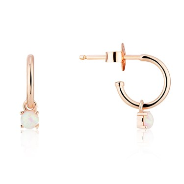 Argento Rose Gold Opal Hoop Earrings  - Click to view larger image