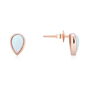 Argento Rose Gold Teardrop Opal Stud Earrings  - Click to view larger image