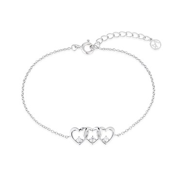 Argento Silver Row of Hearts Bracelet  - Click to view larger image