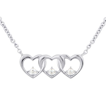 Argento Silver Row of Hearts Necklace 1