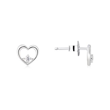 Argento Silver Open Heart Earrings  - Click to view larger image