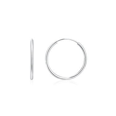 Argento Silver Medium Hoop Earrings  - Click to view larger image