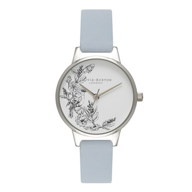 Olivia Burton Animal Motif Chalk Blue & Silver Watch  - Click to view larger image
