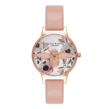 Olivia Burton Botanical 3D Bee Dusty Pink Watch  - Click to view larger image