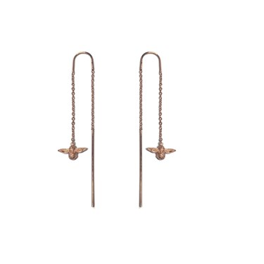 Olivia Burton 3D Bee Rose Gold Chain Drop Earrings   - Click to view larger image