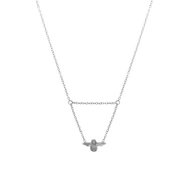 Olivia Burton Silver 3D Bee Drop Necklace  - Click to view larger image