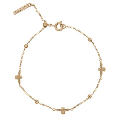 Olivia Burton 3D Bee & Ball Gold Chain Bracelet   - Click to view larger image