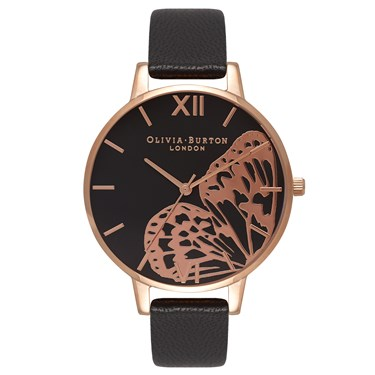 Olivia Burton Applied Wing Applied Wing Black & Rose Gold   - Click to view larger image