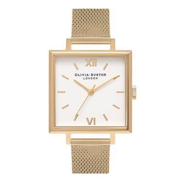 Olivia Burton Big Square Dial Gold Mesh Watch  - Click to view larger image