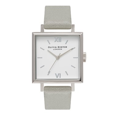 Olivia Burton Big Square Dial Grey & Silver Watch  - Click to view larger image