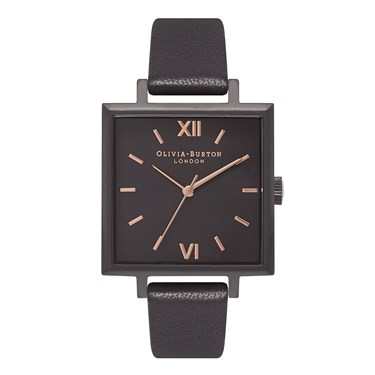 Olivia Burton Big Square IP Black & Rose Gold Watch  - Click to view larger image