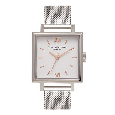 Olivia Burton Big Square Dial Silver Mesh Watch  - Click to view larger image