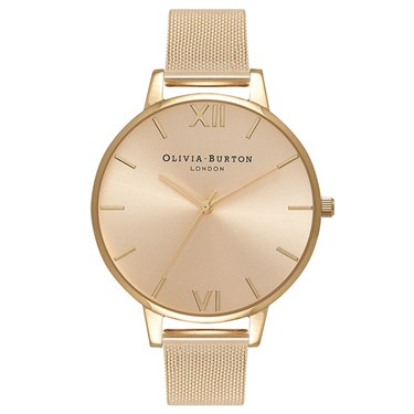 Olivia Burton Big Dial Gold Sunray Mesh Watch  - Click to view larger image