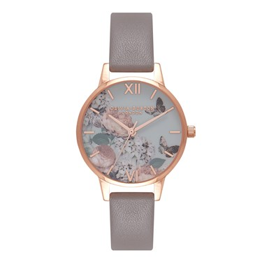 Olivia Burton Signature Floral London Grey & Rose Gold Watch  - Click to view larger image