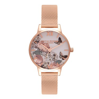 Olivia Burton Midi Signature Floral Mesh Watch  - Click to view larger image