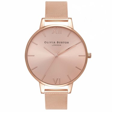 Olivia Burton Big Dial Rose Gold Sunray Mesh Watch  - Click to view larger image