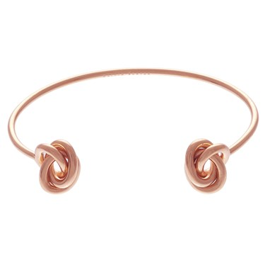 Olivia Burton Forget Me Knot Open Ended Rose Gold Bangle  - Click to view larger image