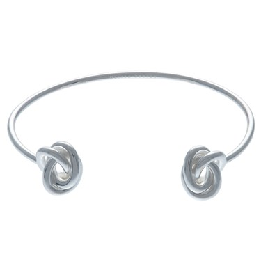 Olivia Burton Forget Me Knot Open Ended Silver Bangle   - Click to view larger image
