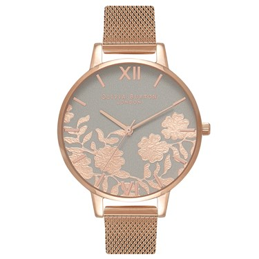 Olivia Burton Lace Detail Grey & Rose Gold Mesh Watch  - Click to view larger image