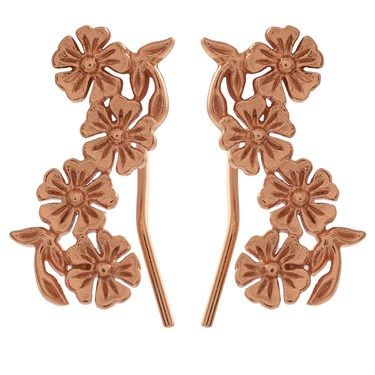 Olivia Burton Lace Detail Crawler Rose Gold Earrings  - Click to view larger image