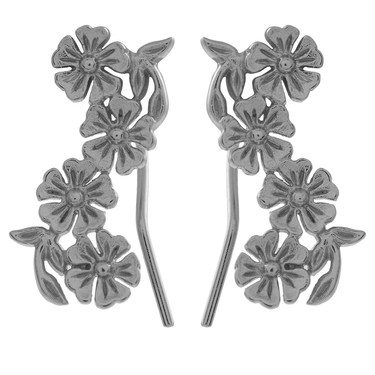 Olivia Burton Lace Detail Silver Crawler Earrings  - Click to view larger image