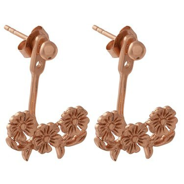 Olivia Burton Lace Detail Rose Gold Jacket Earrings  - Click to view larger image
