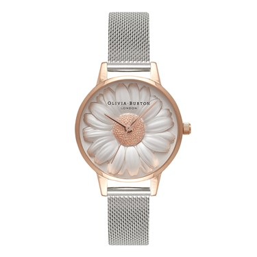 Olivia Burton 3D Daisy Rose Gold & Silver Mesh Watch  - Click to view larger image