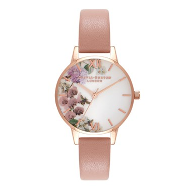 Olivia Burton Enchanted Garden Dusty Pink & Rose Gold Watch  - Click to view larger image