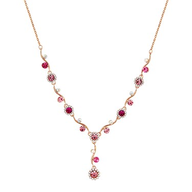 August Woods Rose Gold & Fuchsia Floral Necklace  - Click to view larger image
