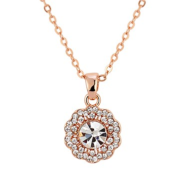 August Woods Rose Gold Crystal Flower Necklace  - Click to view larger image