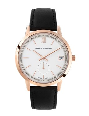 Larsson & Jennings  Saxon Black & Rose Gold 33m Watch  - Click to view larger image