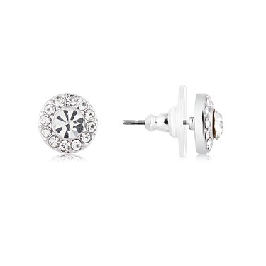 August Woods Silver Crystal Circle Earrings  - Click to view larger image