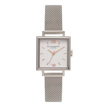 Olivia Burton Square Dial Silver & Rose Gold Mesh Watch  - Click to view larger image