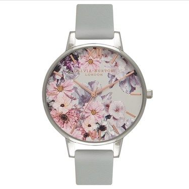 Olivia Burton Vegan Friendly Floral Grey Watch  - Click to view larger image
