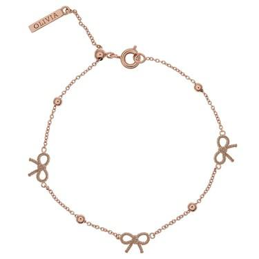 Olivia Burton Vintage Bow and Ball Rose Gold Bracelet  - Click to view larger image