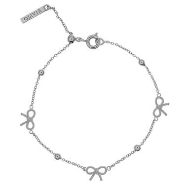 Olivia Burton Vintage Bow and Ball Silver Bracelet   - Click to view larger image