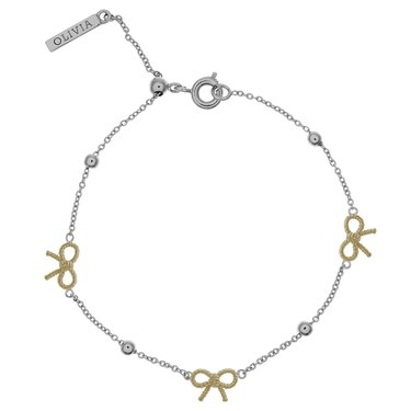 Olivia Burton Vintage Bow and Ball Silver & Gold Bracelet  - Click to view larger image