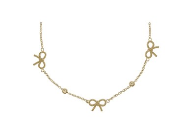 Olivia Burton Vintage Bow and Ball Gold Necklace   - Click to view larger image