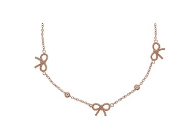 Olivia Burton Vintage Bow and Ball Rose Gold Necklace  - Click to view larger image